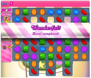 Beating a level of Candy Crush
