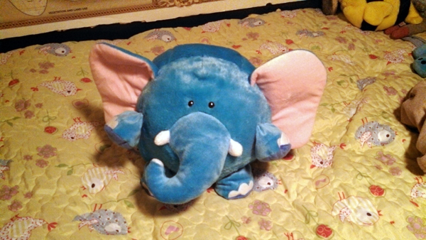 Stuffed blue elephant