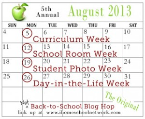 Not Back to School Blog Hop calendar 2013