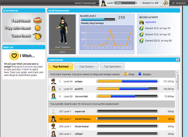 Creating and customizing a character in Uzinggo online math and science learning program makes it even more fun