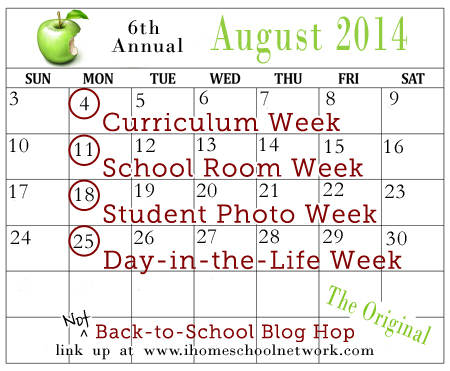 Not Back to School Blog Hop calendar 2014