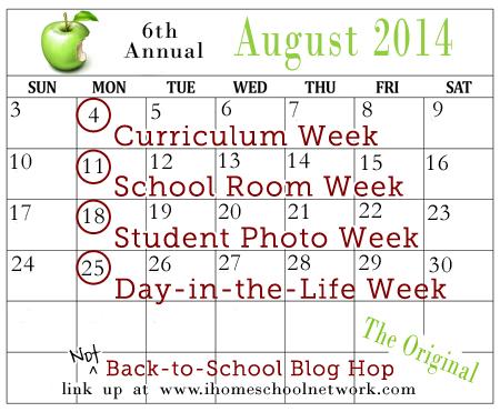 Not Back to School Blog Hop calendar 2014