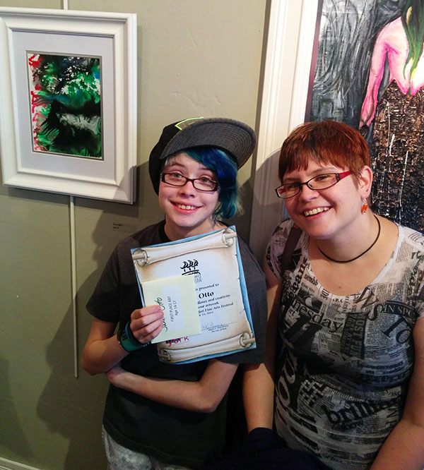Sarah won first place for art by 14- to 18-year-olds at Yorkfest, our annual regional art show. That's her painting at left!