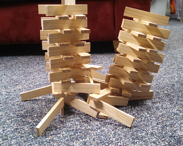 Remember our Bionic Blox? Ashar dug them out and built this cool, somewhat anti-gravity tower this month.