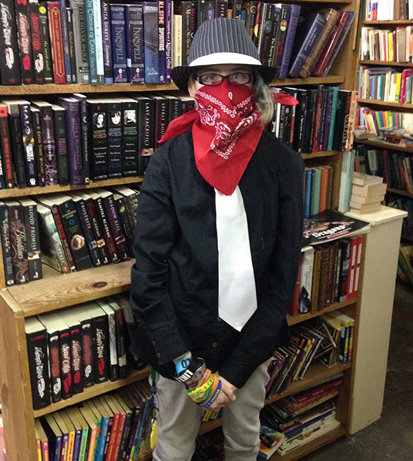 "Sarah decided she wanted to dress up as a ""gangster bandit,"" and so she did. And we hung out at our favorite bookstore with friends. Very cool."