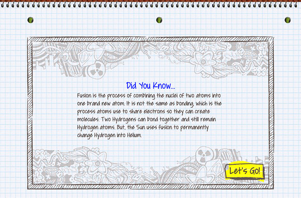 Learning about fusion and other chemistry facts with educational Atomidoodle app