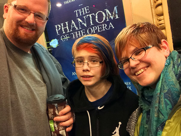 The big highlight of the past few months: Going to New York City to see The Phantom of the Opera on Broadway! The tickets were a Christmas gift from Chris, who was working and couldn't even go himself!  Pictured are Dan, Sarah and me in front of the theater.