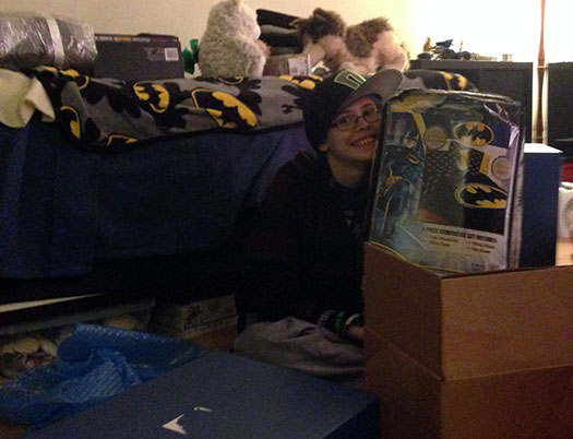 Sarah's Batman bed set was a huge hit!