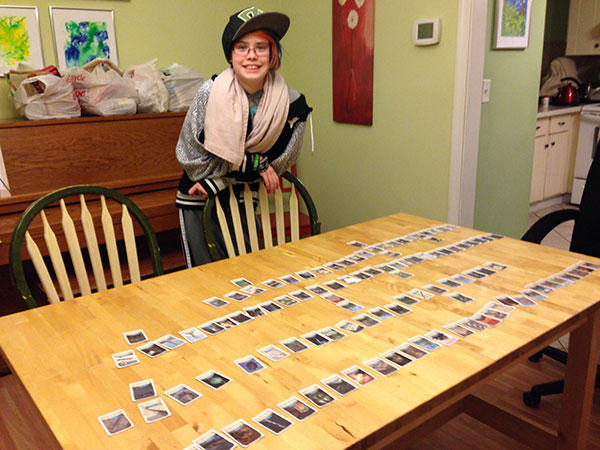 Timeline has been THE BIGGEST hit for us. Here's Sarah with all of the Inventions cards in order from earliest to latest. Totally fun way to put some history in context.