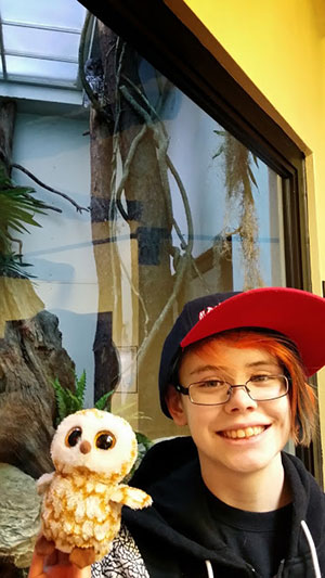 This is Sarah and our friend Swoops the Owl with an actual live owl at ZooAmerica in Hershey.
