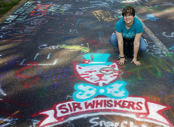 And one last Centralia photo; this time, me with MY favorite graffiti in the form of a cat.