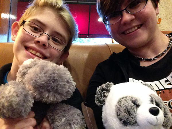 We drove two hours, went to a large mall, and ate dinner with our friends Mmm the hip-hop-otamus and Chompers the panda. No biggie.