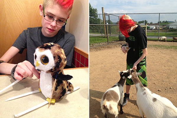 We took one of our tiny owls, Meego, to Isaac's for dinner. And made him a set of skis from some straws and toothpicks. And then, at right, we went to Lake Tobias and fed real-life goats.