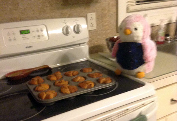 So, two other random things we did this month. That's Sarah's Valentine's Day penguin, Rey, named after the Star Wars heroine. Ashar decided we needed to make her some kind of accessory, so she got an apron. Then, of course, she had to help cook something, so Ashar made mini monkey breads in a muffin pan. Yum!