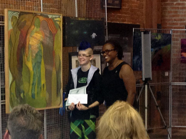 This is York Mayor Kim Bracey presenting Sarah with her YorkFest award.