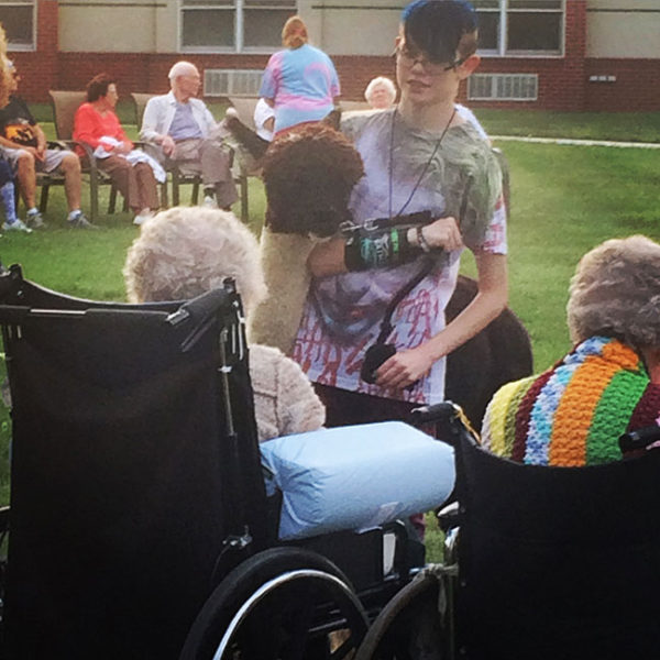 Unschooling in September 2016: The York County 4-H Alpaca Club took some of their animals to a local nursing home to visit with the residents.