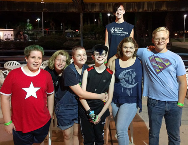 Unschooling in September 2016: Here's the crew at Sarah's laser tag half-birthday party in Phoenix - Cam, Liv, Gabriel, Sarah, Janae and JJ in the front with Michael up top.