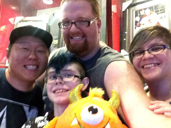 On our FIRST trip to Arizona this fall, we hung out with Dan's brother Dave at Dave and Buster's. (The orange monster is, appropriately, named Buster.) It was only about two weeks after this that we found out Dave had a massive heart attack and was in ICU.