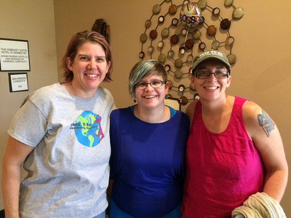 This is my squad - Rachel and Heather, unschooling moms extraordinaire and, even better, some awesome ladyfriends.