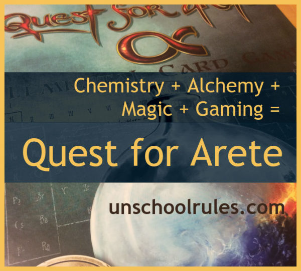 Quest for Arete is a great game that combines chemistry, alchemy, magic and gaming into homeschool fun.