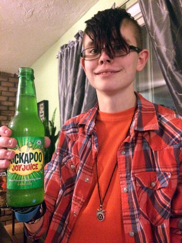 We had our family Thanksgiving dinner at Cracker Barrel, and while we were there, Sarah spotted this cool bottle of old-fashioned soda called Kickapoo Joy Juice that she wanted to try.