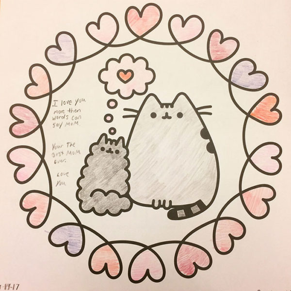 Unschooling on Unschool Rules: One night in January, while I was doing some computer work, Sarah decided to color some Pusheen art from a book she got for Christmas. This was my present... I loved it.