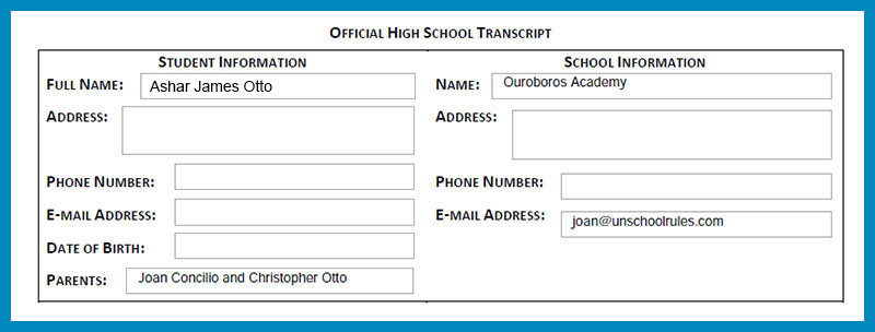 Unschool Rules example of an unschooling high school transcript header