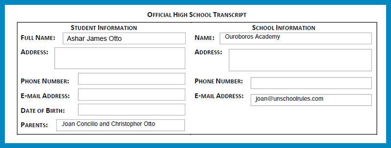 Unschool Rules example of an unschooling high school transcript header
