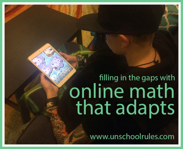 An adaptive online math program for pre-algebra, algebra 1, geometry and algebra 2 helps teens fill in the gaps. Check out one family's experiences in this review of the Knowre system on Unschool Rules.