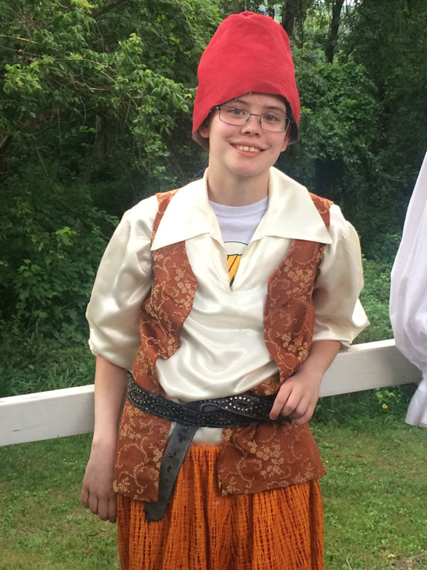 "Unschool Rules - June 2017 - Sarah as Trinculo, the jester, in Shakespeare's ""The Tempest."""