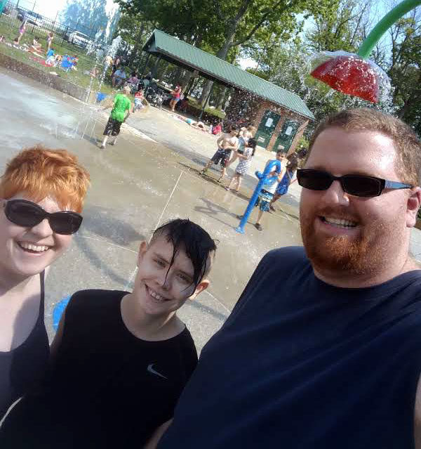 Unschool Rules - June 2017 - We had been planning to go to a family pool party out of state, but weren't able to make it, so Dan and I tried to make it up to Sarah by taking her to our local splash park, this super-awesome free place where you can get drenched!