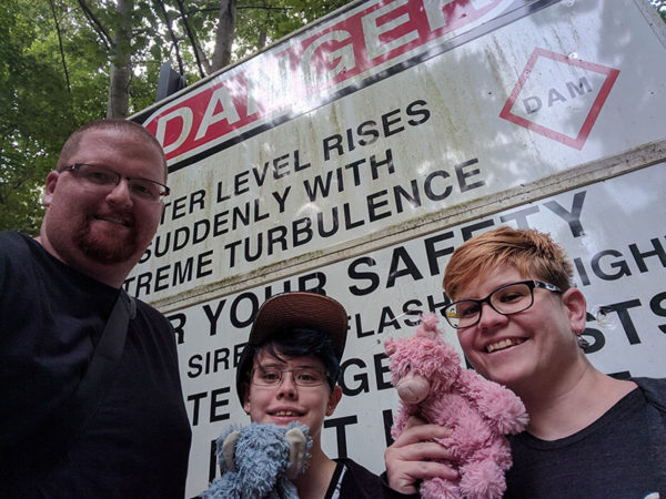 Unschooling in July 2017 on Unschool Rules: That's a dam scary sign. (See what I did there?) This was taken with Pascal the elephant and Sammiches the pig as well as Dan, Ashar and I during a hike at the Lock 12 Recreation Area near Holtwood Dam outside Airville, PA.