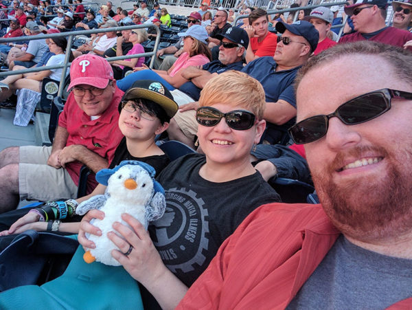 Unschooling in July 2017 on Unschool Rules: Chris, Sarah, Plaid Pengin, Dan and I having a fun day at the Lehigh Valley IronPigs vs. Scranton/Wilkes-Barre RailRiders AAA baseball game!