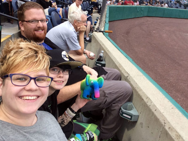 Unschooling in July 2017 on Unschool Rules: Dan, Sarah and I got free front-row seats to a local Atlantic League baseball game, thanks to a friend from 4-H. Philip the phpDiversity elephant also enjoyed the game.