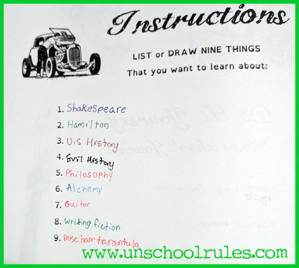 Unschool Rules: 17-year-old Sarah's interest list from her Thinking Tree Journal.