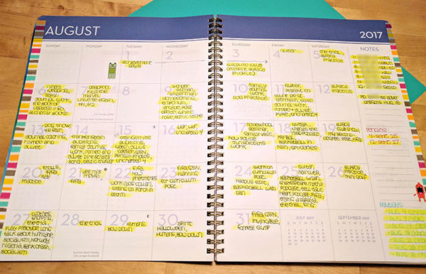 Unschool Rules guide to an unschooling planner system: An overview look at a month's unschooling documentation.