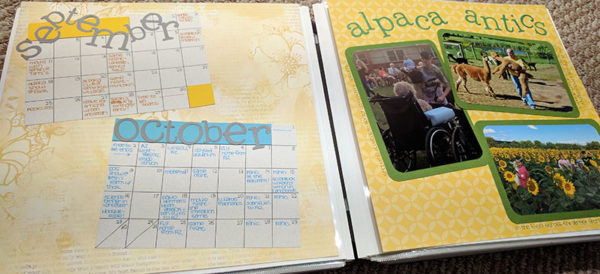 Unschool Rules guide to an unschooling planner system: When I work on my scrapbook for a particular year, I look back through my planner for special events (usually written in pink) to add to calendars like these.