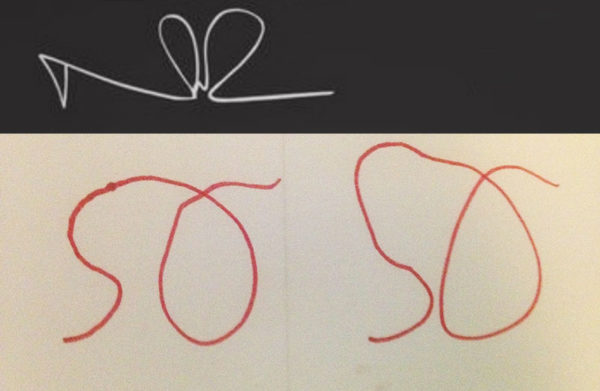 Unschool Rules Day in the Life of Unschoolers: Norman Reedus' signature (top) is a fancy N and R together. So why shouldn't Sarah Otto try her hand at S and O together?