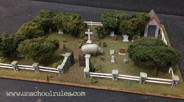 Unschool Rules: Buying a cemetery... to accompany a model train layout.