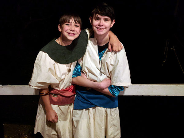 Unschooling in September 2017 on Unschool Rules: Nash and Sarah, Cleopatra's two attendants, at Antony and Cleopatra.
