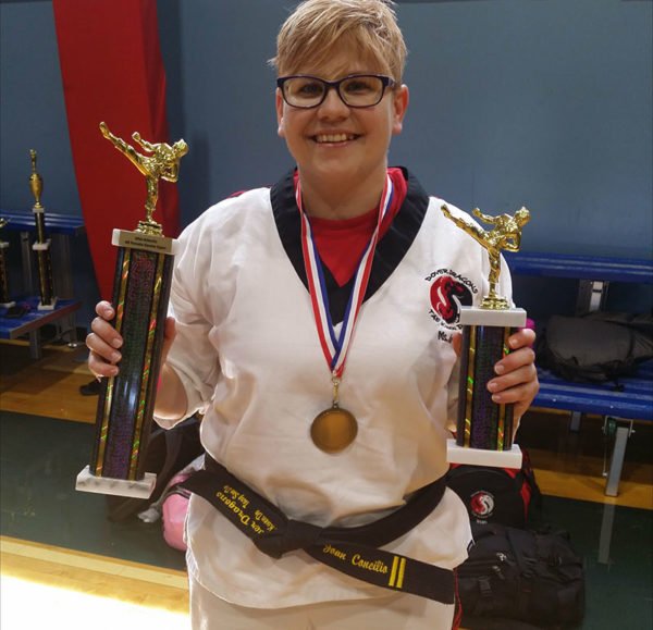 Unschooling in September 2017 on Unschool Rules: Me, at the Mid-Atlantic All Female Karate Open. Second place in weapons form, fourth place in open-hand form and third place in sparring.