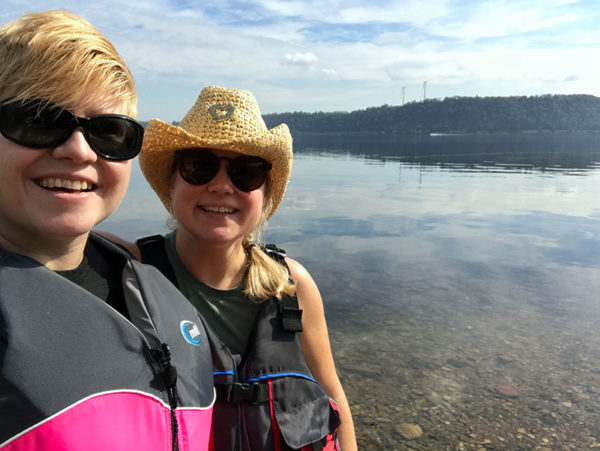 "Unschooling in October 2017 on Unschool Rules: Kara and I were very brave, kayaking on the huge Susquehanna River instead of the lakes that we're used to. (Now I'm singing TLC's ""Waterfalls"" in my head...) It was a beautiful day and even included a picnic!"