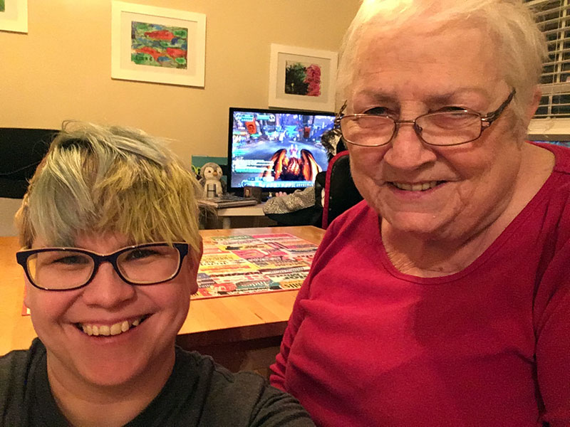 Unschool Rules unschooling in March 2018: Selfies after finishing a jigsaw puzzle