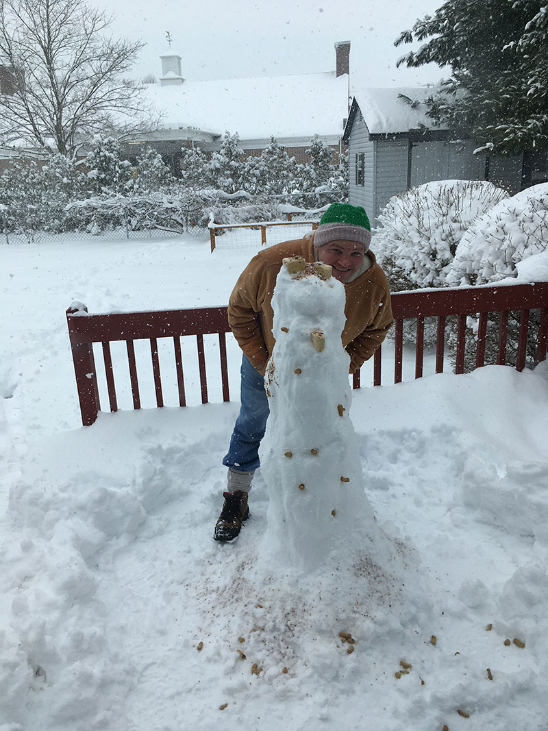 Unschool Rules unschooling in March 2018: Chris made a snow bird feeder.