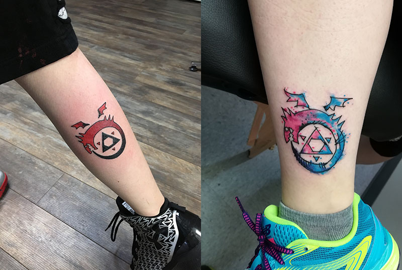 Unschool Rules unschooling in March 2018: Mother-daughter ouroboros tattoos