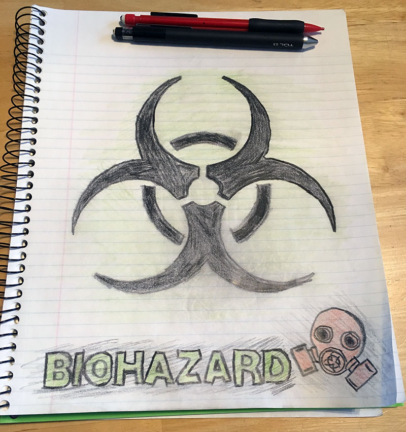 Unschooling in April 2018 on Unschool Rules: Biohazard art project.